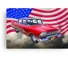 1958 Plymouth Savoy Car With American Flag Canvas Print