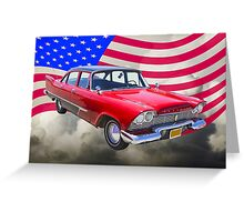 1958 Plymouth Savoy Car With American Flag Greeting Card
