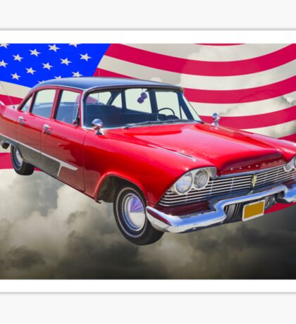 1958 Plymouth Savoy Car With American Flag Sticker