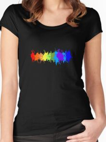 Customize rainbow paint splash drips gay pride geek funny nerd Women's Fitted Scoop T-Shirt