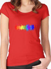 Customize rainbow paint splash drips gay pride geek funny nerd Women's Fitted Scoop T-Shirt