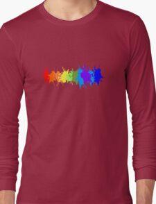 Customize rainbow paint splash drips gay pride geek funny nerd Long Sleeve T-Shirt