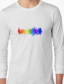 Customize rainbow paint splash drips gay pride geek funny nerd Long Sleeve T-Shirt