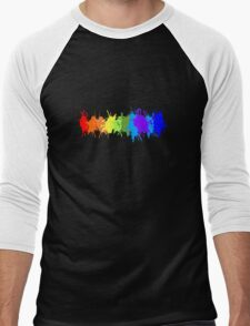 Customize rainbow paint splash drips gay pride geek funny nerd Men's Baseball ¾ T-Shirt
