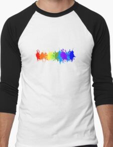 Customize rainbow paint splash drips gay pride geek funny nerd Men's Baseball ¾ T-Shirt