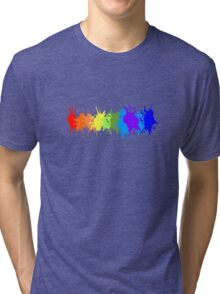 Customize rainbow paint splash drips gay pride geek funny nerd Tri-blend T-Shirt