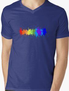 Customize rainbow paint splash drips gay pride geek funny nerd Mens V-Neck T-Shirt