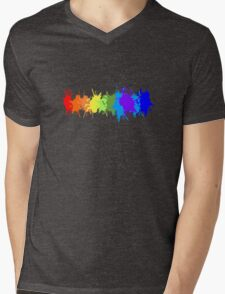 Customize rainbow paint splash drips gay pride geek funny nerd Mens V-Neck T-Shirt