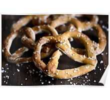 Bavarian Salted Fresh Dough Pretzels on Rustic Wood Poster