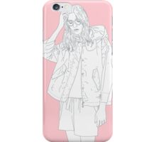 tired girl pink background iPhone Case/Skin