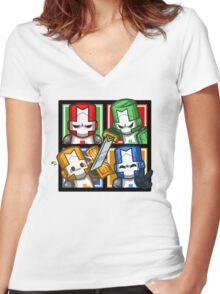 Castle Crashers Four-Square Women's Fitted V-Neck T-Shirt