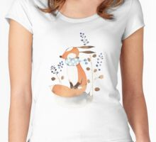 Fox and blue berries Women's Fitted Scoop T-Shirt