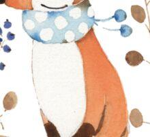 Fox and blue berries Sticker
