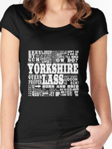 YORKSHIRE LASS WHITE PRINT Women's Fitted Scoop T-Shirt