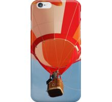 Orange and White Striped Hot Air Balloon in Flight Over Blue Sky iPhone Case/Skin