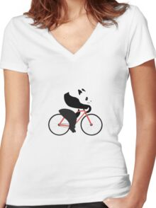 Cycling panda geek funny nerd Women's Fitted V-Neck T-Shirt