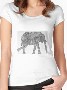 Elephant Design Women's Fitted Scoop T-Shirt