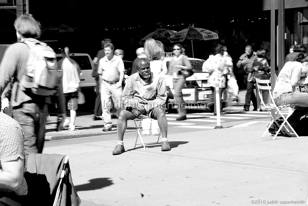 Man Seated Herald Square, NYC by Judith Oppenheimer
