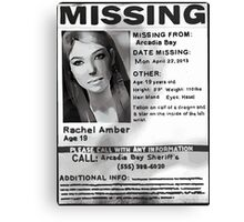 Rachel Amber's Wanted Poster Canvas Print