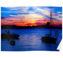 Sunset over Gosport from Portsmouth Poster