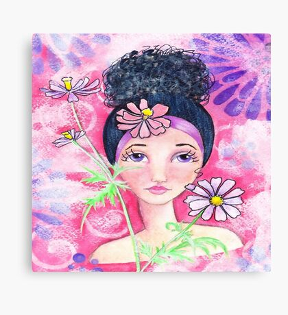 Whimiscal Girl with Flowers Canvas Print