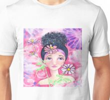 Whimiscal Girl with Flowers Unisex T-Shirt