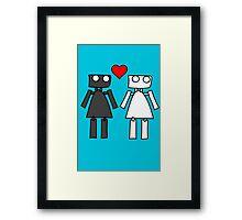 Lady bots in love geek funny nerd Framed Print