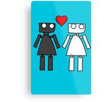 Lady bots in love geek funny nerd Metal Print