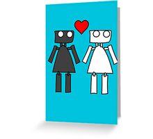 Lady bots in love geek funny nerd Greeting Card