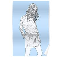 loneliness - girl blue background Poster