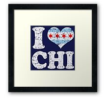 I Heart CHI Chicago Flag Framed Print