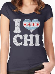 I Heart CHI Chicago Flag Women's Fitted Scoop T-Shirt