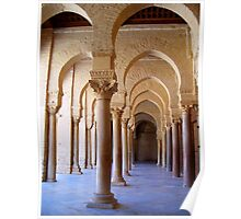 Archways and Columns of the Great Mosque of Kairouan in Tunisia Poster