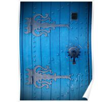 Traditional Old Bright Blue Door in Tunisia with Iron Decorations Poster