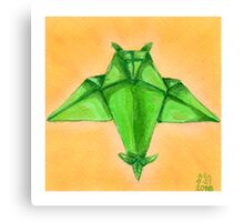 Green Paper Owl Canvas Print