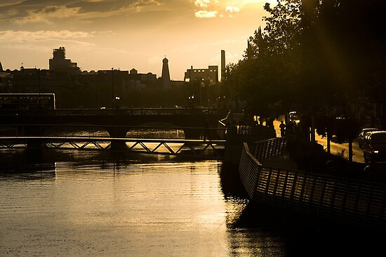 Golden Sunset Over the River Liffey by rorycobbe