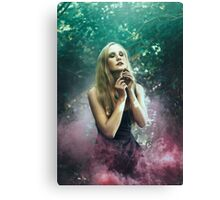 Girl in purle smoke - Canvas Print