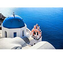 Blue and white church in Santorini Photographic Print