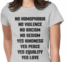 No Homophobia Quote Womens Fitted T-Shirt