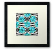 Watercolor succulent pattern on monochrome background Framed Print