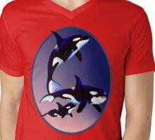 Killer Whale Family Oval  Mens V-Neck T-Shirt