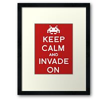 Retro Keep Calm and Invade On Framed Print