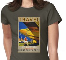 Vintage Travel Poster Restored Womens Fitted T-Shirt