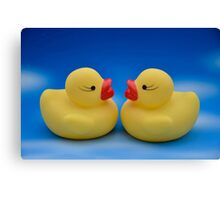 Cute Kids Bath Time Yellow Rubber Ducks Blue Sky Canvas Print