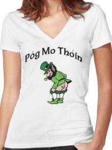 "Irish ""Pog Mo Thoin"" Kiss My A...  Women's Fitted V-Neck T-Shirt"