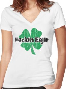 Feckin Eejit Women's Fitted V-Neck T-Shirt