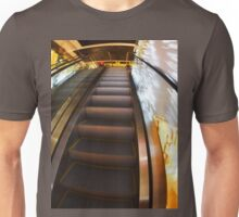 Escalator in the big shopping center in the movement Unisex T-Shirt