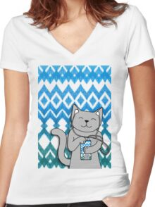 iKat iCat Women's Fitted V-Neck T-Shirt