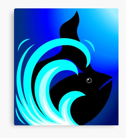 The beauty of shark in blue waves Canvas Print