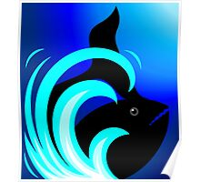 The beauty of shark in blue waves Poster